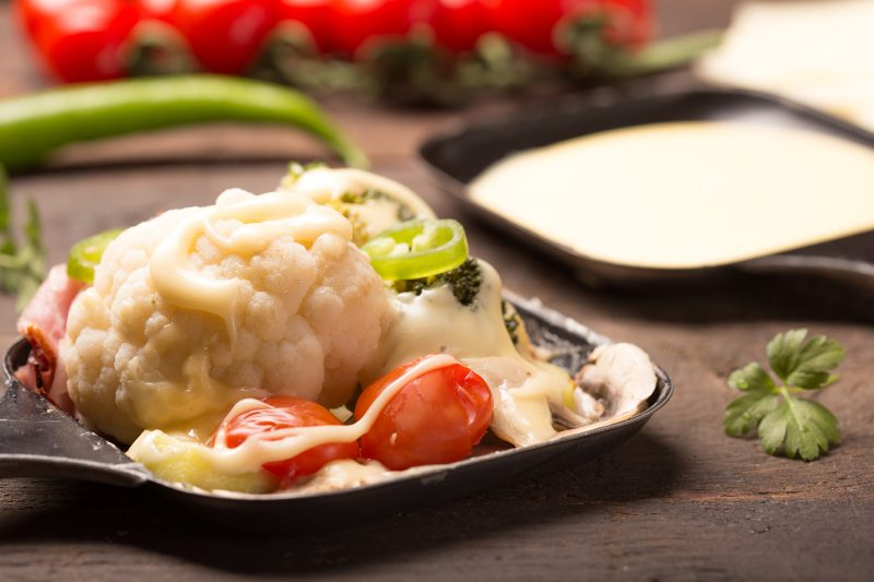 healthy ingredients for raclette with sliced cheese