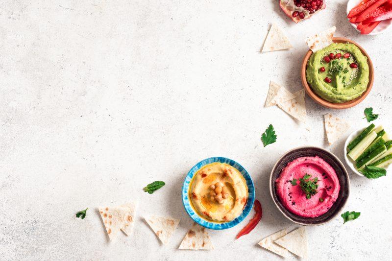 Hummus auf Dreierlei Art: Klassisch, Avocado, Rote Beete