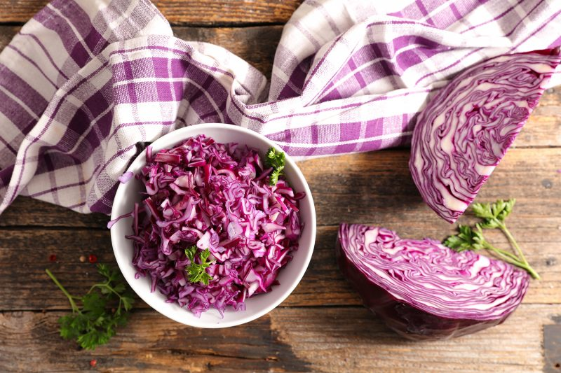 bowl of grated red cabbage