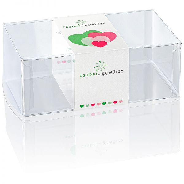 Klarsicht-Box bunte Herzen 2-er (leer) für eigene Gewürz-Auswahl